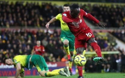 Mané-gol, anche il Norwich ko: 0-1 Liverpool