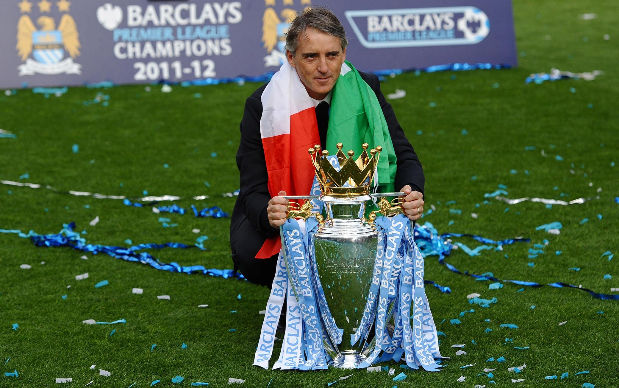 Roberto Mancini festeggia il titolo in Premier nel 2012