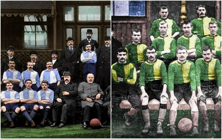 Le formazioni della prima sfida fra Liverpool (sinistra) e Newton Heath (poi Man Utd, destra)
