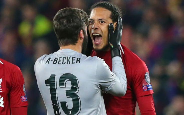Alisson e Van Dijk esultano dopo la conquista della finale di Champions