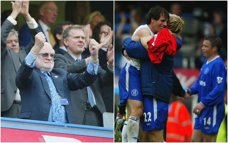 11 maggio 2003: Zola e Gudjohnsen festeggiano la vittoria col Liverpool e la qualificazione in Champions; Ken Bates (a sinistra) festeggia anche altro...