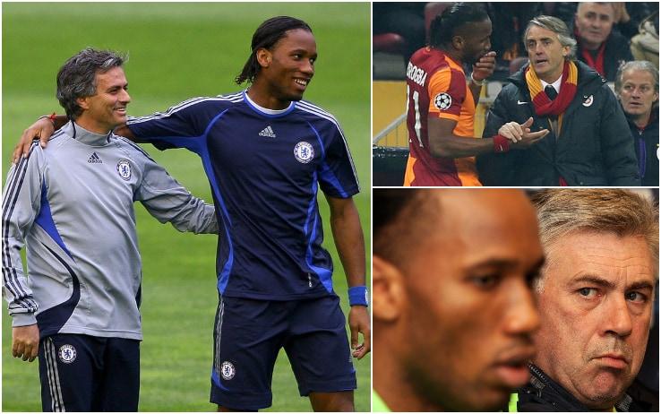 Mourinho, Mancini e Ancelotti: alcuni degli allenatori avuti da Drogba