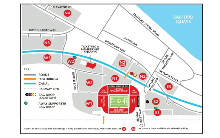 Dal sito del Man Utd la cartina per arrivare allo stadio