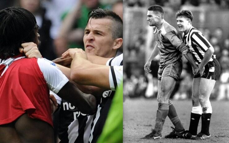 """Joey Burton (a sinistra) litiga con Gervinho; Vinnie Jones 'palpa' Gascoigne. Loro fanno parte della categoria dei """"provocatori"""""""