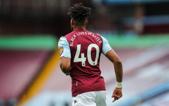 BIRMINGHAM, ENGLAND - JUNE 17: The phrase Black Lives Matter replaces the players name on the back of the shirts during the Premier League match between Aston Villa and Sheffield United at Villa Park on June 17, 2020 in Birmingham, United Kingdom. (Photo by Matthew Ashton - AMA/Getty Images)