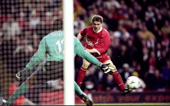 20 Feb 1999:  Michael Owen of Liverpool drives a shot at West Ham United keeper Shaka Hislop in the FA Carling Premiership match at Anfield in Liverpool. The game ended in a 2-2 draw. \ Mandatory Credit: Clive Brunskill /Allsport