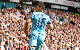 epa04731650 Manchester City's Sergio Aguero celebrates his goal during a Premier League game between Tottenham Hotspurs and Manchester City at White Hart Lane North London, Britain, 3rd May 2015.  EPA/SEAN DEMPSEY DataCo terms and conditions apply 