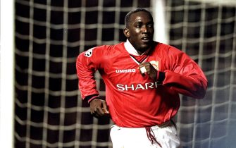3 Mar 1999:  Dwight Yorke of Manchester United celebrates a goal against Inter Milan during the UEFA Champions League quarter-final first leg match at Old Trafford in Manchester, England. Yorke scored both goals in a 2-0 win. \ Mandatory Credit: Clive Brunskill /Allsport