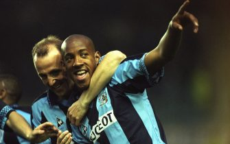 21 Apr 1997:  Dion Dublin of Coventry City celebrates during an FA Carling Premiership match against Arsenal at the Highfield Road Stadium in Coventry, England. \ Mandatory Credit: Ben  Radford/Allsport