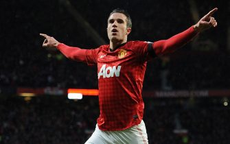 epa03577279 Manchester United's Robin Van Persie celebrates scoring the second goal during the English Premier League soccer match at Old Trafford, Manchester, Britain, 10 February 2013.  EPA/PETER POWELL DataCo terms and conditions apply.  http://www.epa.eu/downloads/DataCo-TCs.pdfTCs.pdf