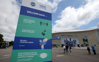 BRIGHTON, ENGLAND - AUGUST 29: General view outside the stadium as fans arrive as part of a pilot event following the coronavirus pandemic during the pre-season friendly between Brighton & Hove Albion and Chelsea  at Amex Stadium on August 29, 2020 in Brighton, England. (Photo by Steve Bardens/Getty Images)