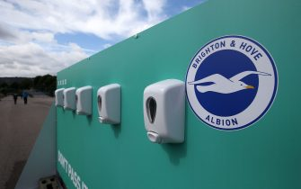 BRIGHTON, ENGLAND - AUGUST 29: Anti bacterial stations are seen outside the stadium  during the pre-season friendly between Brighton & Hove Albion and Chelsea  at Amex Stadium on August 29, 2020 in Brighton, England. (Photo by Steve Bardens/Getty Images)