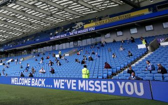 BRIGHTON, ENGLAND - AUGUST 29: General view inside the stadium as fans return as part of a pilot event following the coronavirus pandemic during the pre-season friendly between Brighton & Hove Albion and Chelsea  at Amex Stadium on August 29, 2020 in Brighton, England. (Photo by Steve Bardens/Getty Images)