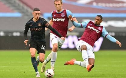 Il City non ingrana: solo 1-1 col West Ham