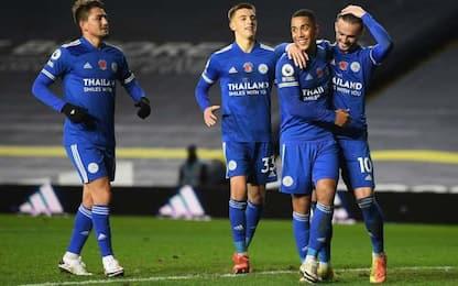 Il Leicester vola, 4-1 al Leeds e secondo posto
