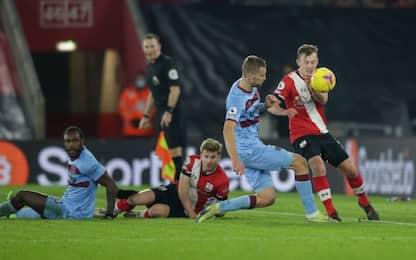 Il Southampton tiene a distanza il West Ham: è 0-0
