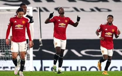 Pogba trascina lo United: 2-1 al Fulham e 1° posto