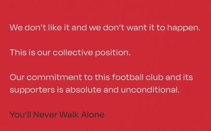 Liverpool, i giocatori uniti contro la Superlega
