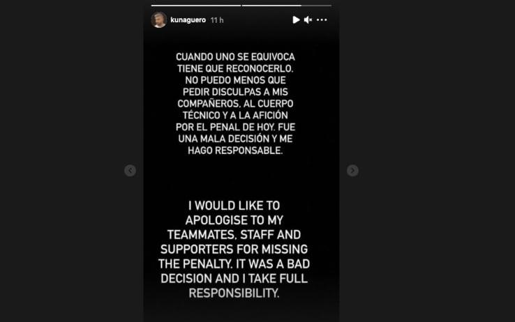 Le scuse di Aguero su Instagram