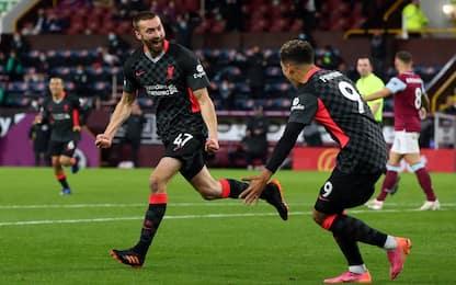 Tris al Burnley, Liverpool 4° con il Leicester
