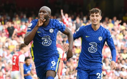 Lukaku-gol all'esordio: 2-0 Chelsea all'Arsenal