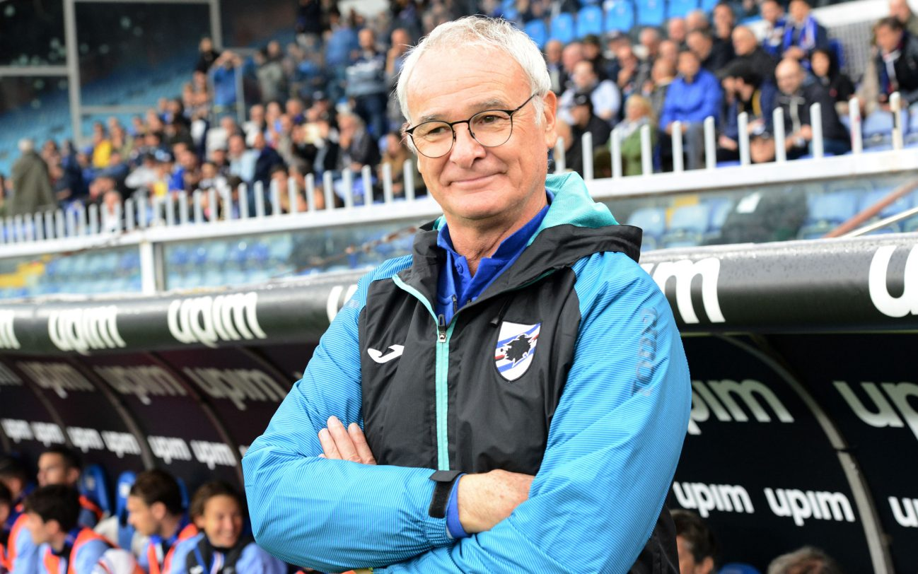 GENOA, ITALY - OCTOBER 20: Claudio Ranieri head coach of UC Sampdoria Team and Paulo Fonseca head coach of AS Roma during the Serie A match between UC Sampdoria and AS Roma at Stadio Luigi Ferraris on October 20, 2019 in Genoa, Italy. (Photo by Paolo Rattini/Getty Images)