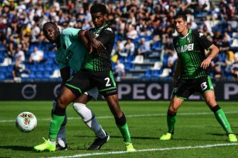 Sassuolo's Brazilian defender Marlon (C) tackles Inter Milan's Belgian forward Romelu Lukaku (L) during the Italian Serie A football match Sassuolo vs Inter Milan on October 20, 2019 at the Mapei stadium in Reggio-Emilia. (Photo by Miguel MEDINA / AFP) (Photo by MIGUEL MEDINA/AFP via Getty Images)