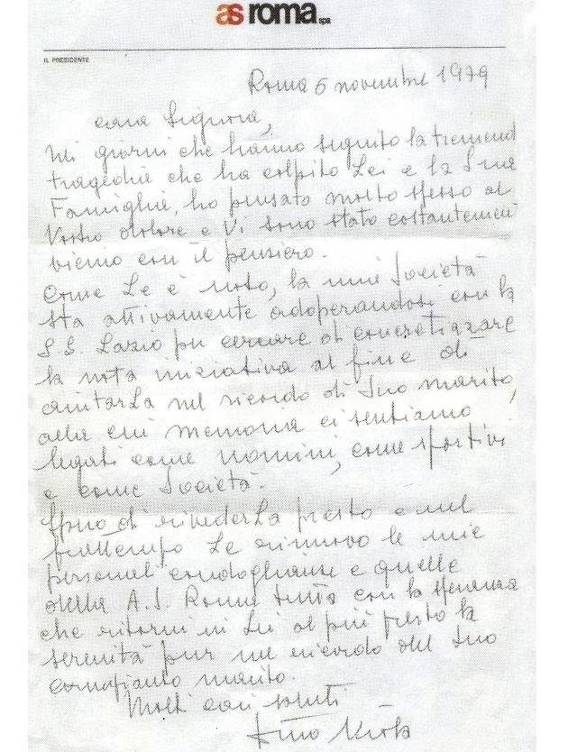 La lettera del presidente della Roma, Dino Viola