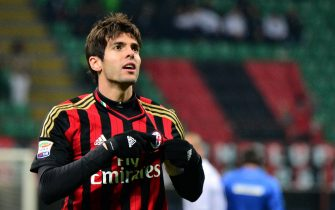 AC Milan's Brazilian forward Kaka celebrates after scoring a goal during the Serie A football match between AC Milan and Genoa  at San Siro Stadium in Milan on November 23, 2013 . AFP PHOTO / GIUSEPPE CACACE        (Photo credit should read GIUSEPPE CACACE/AFP/Getty Images)