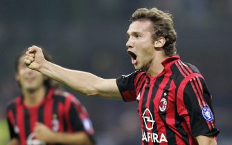 MILAN, Italy:  AC Milan's forward Andriy Shevchenko of Ukraine celebrates after scoring against Siena during their italian serie A football match in Milan, 10 September 2005.  AFP PHOTO / CARLO BARONCINI  (Photo credit should read CARLO BARONCINI/AFP via Getty Images)