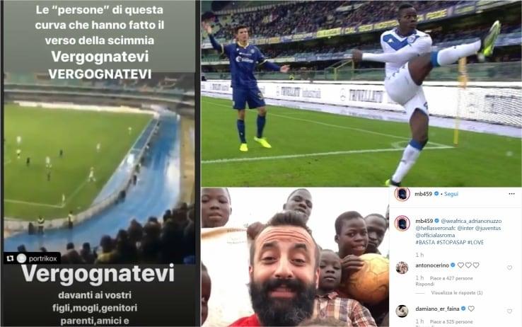 Balotelli, i messaggi su Instagram dopo i cori razzisti di Verona