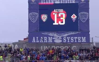 Cagliari-Fiorentina per Astori: il ricordo al 13'