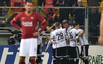 Roma stanca, il Parma fa festa: 2-0 al Tardini