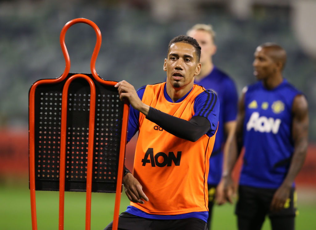 PERTH, AUSTRALIA - JULY 09: (EXCLUSIVE COVERAGE) Chris Smalling of Manchester United in action during a first team training session as part of their pre-season tour of Australia, Singapore and China on July 09, 2019 in Perth, Australia. (Photo by Matthew Peters/Manchester United via Getty Images)