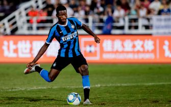 MACAU, MACAU - JULY 27: Lucien Agoume of FC Internazionale attempts to score a goal during the penalty shootout of the International Super Cup 2019 between Paris Saint-Germain and FC Internazionale at the Macau Taipa Olympic Sports Center on July 27, 2019 in Macau. (Photo by Eurasia Sport Images/Getty Images)