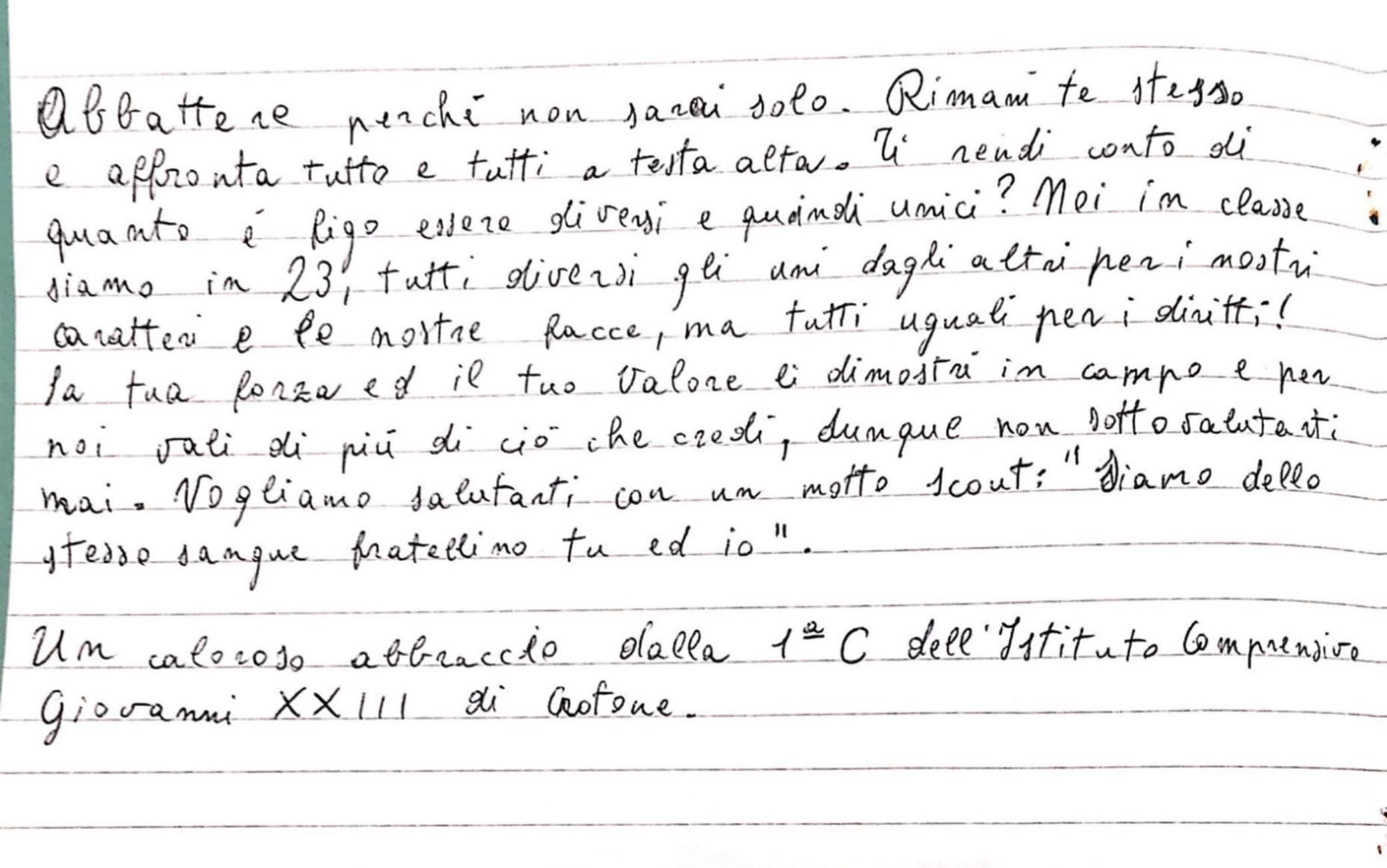 La seconda parte della lettera scritta a Balotelli