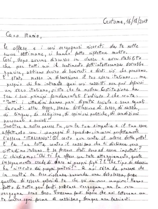 La lettera degli studenti a Balotelli