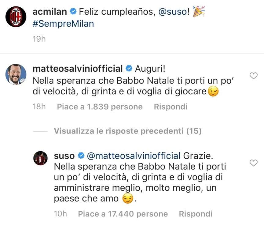 Salvini-Suso, botta e risposta su Instagram