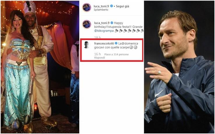 Il simpatico siparietto sui social tra Totti e Toni