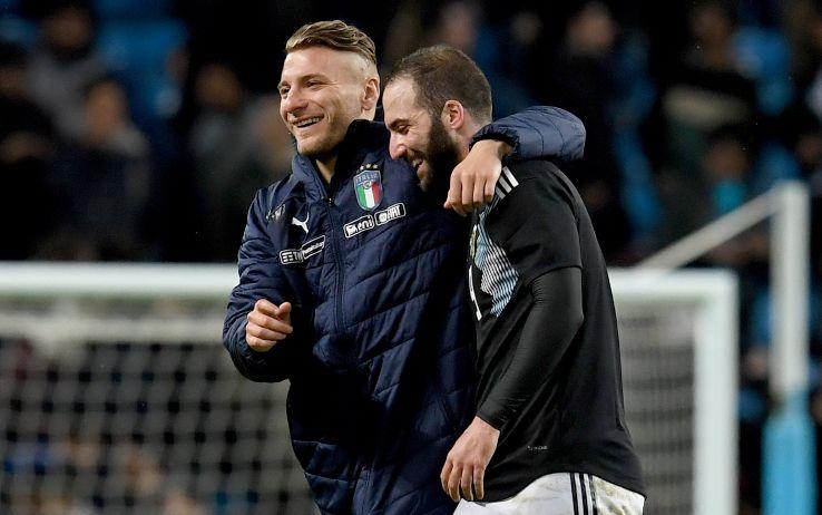 Immobile e Higuain nel 2018 dopo un'amichevole Italia-Argentina