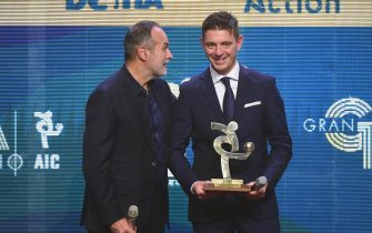 MILAN, ITALY - DECEMBER 02: Antonio Cabrini gives best referee award to Gianluca Rocchi during the 'Oscar del Calcio AIC' Italian Football Awards on December 2, 2019 in Milan, Italy. (Photo by Pier Marco Tacca/Getty Images)