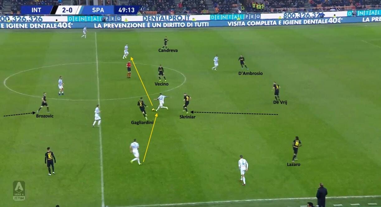 Petagna trova spazio per ricevere dietro il centrocampo dell'Inter