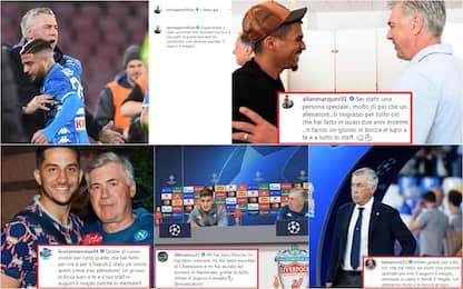 Napoli, i giocatori salutano Ancelotti sui social