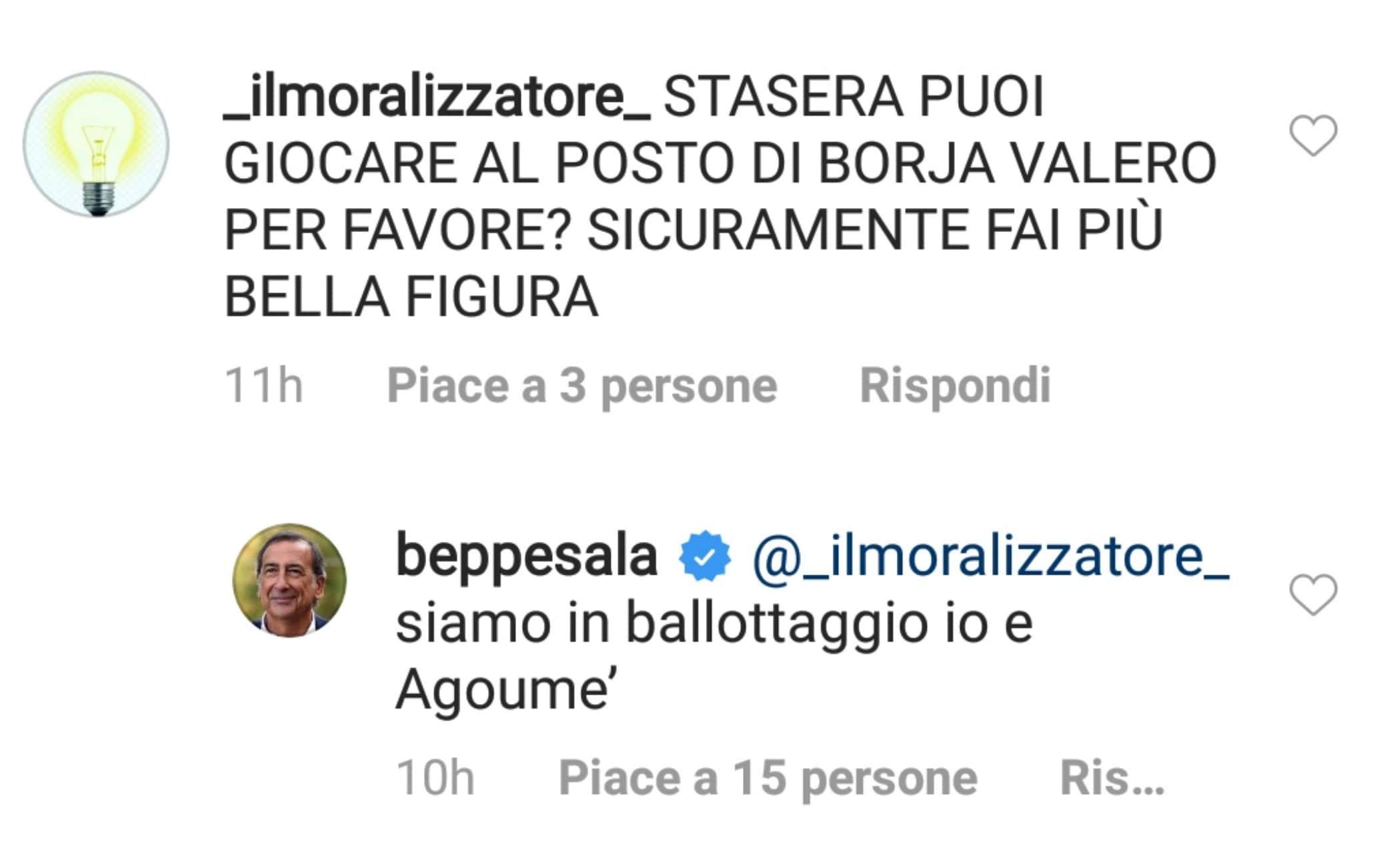 Il commento di Sala su Instagram