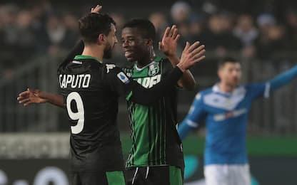 Traorè-Caputo, il Sassuolo vince 2-0 a Brescia