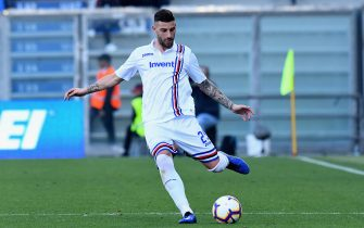 REGGIO NELL'EMILIA, ITALY - MARCH 16:  Nicola Murru of UC Sampdoria in action during the Serie A match between US Sassuolo and UC Sampdoria at Mapei Stadium - Citta' del Tricolore on March 16, 2019 in Reggio nell'Emilia, Italy.  (Photo by Alessandro Sabattini/Getty Images)