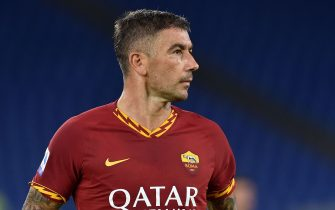 ROME, ITALY - SEPTEMBER 25:  Aleksandar Kolarov of AS Roma in action during the Serie A match between AS Roma and Atalanta BC at Stadio Olimpico on September 25, 2019 in Rome, Italy.  (Photo by Giuseppe Bellini/Getty Images)