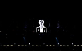 TURIN, ITALY - MARCH 12: A projection of Cristiano Ronaldo of Juventus is seen above the stadium before the UEFA Champions League Round of 16 Second Leg match between Juventus and Club de Atletico Madrid at Allianz Stadium on March 12, 2019 in Turin, Italy. (Photo by Chris Brunskill/Fantasista/Getty Images)