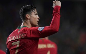 FARO, PORTUGAL - NOVEMBER 14:  Cristiano Ronaldo of Portugal and Juventus celebrates after scoring a goal during the UEFA Euro 2020 Qualifier match between Portugal and Lithuania at Estadio Algarve on November 14, 2019 in Faro, Portugal.  (Photo by Gualter Fatia/Getty Images)