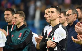 Juventus' Portuguese forward Cristiano Ronaldo (C) reacts following their defeat the Supercoppa Italiana final football match between Juventus and Lazio at the King Saud University Stadium in the Saudi capital Riyadh on December 22, 2019. (Photo by FAYEZ NURELDINE / AFP) (Photo by FAYEZ NURELDINE/AFP via Getty Images)